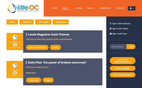 Screenshot of Press Page theeliteoc.com - In The News - The Elite OC - captured Jan. 11, 2016