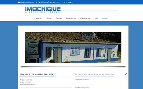 Screenshot of Contact Page imochique.com - Contact | Imochique | Properties, villas, ruins for sale around Monchique - captured Dec. 10, 2018
