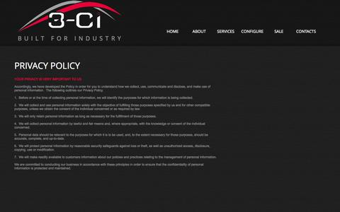 Screenshot of Privacy Page 3-ci.com - 3-CI Overmolded Cables  Privacy Policy - captured Oct. 9, 2014