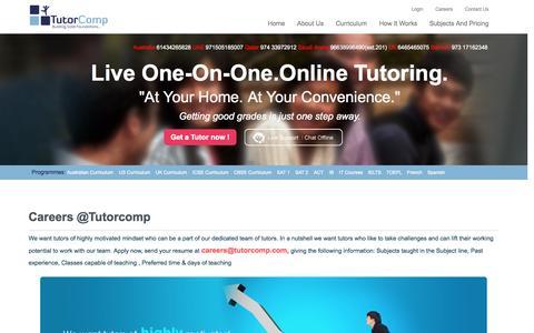Screenshot of Jobs Page tutorcomp.com - Online Tuition - Online Math Tutors  Tutorcomp.com - captured Oct. 1, 2014