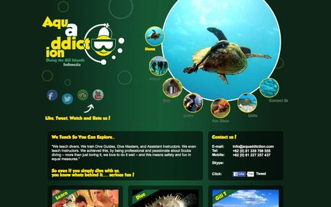 Screenshot of Home Page aquaddiction.com - Aquaddiction Dive | Scuba Diving the Gili Islands, Indonesia - captured Feb. 6, 2016