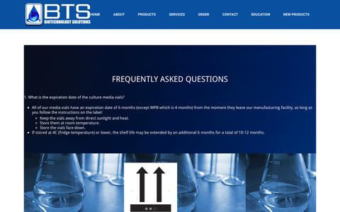 Screenshot of FAQ Page biotechnologysolutions.com - FAQ – BTS – Biotechnology Solutions - captured Aug. 2, 2018