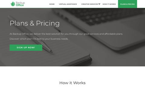 Screenshot of Pricing Page backupoffice.co - Pricing - Discover which plan fits best to your business - Backup Office - captured July 10, 2018