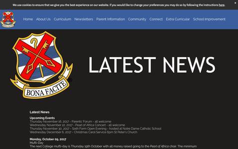 Screenshot of Press Page stbonifaces.com - News - captured Nov. 11, 2017