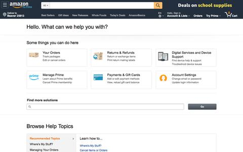 Screenshot of Support Page amazon.com - Amazon.com Help - captured Sept. 11, 2019