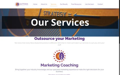 Screenshot of Services Page synthesis.co.nz - Services - Synthesis Marketing - captured Oct. 27, 2017