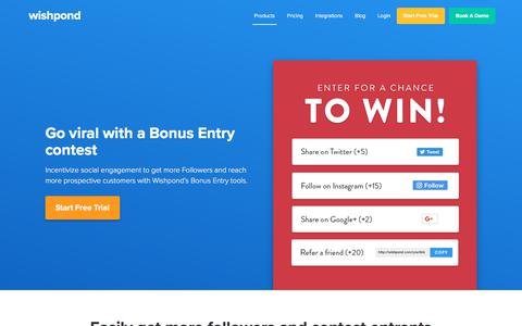 Bonus Entry Product Page | Wishpond