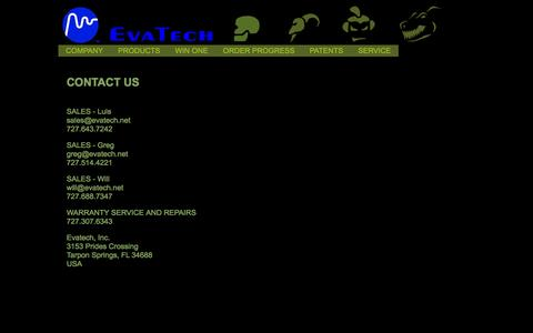 Screenshot of Contact Page evatech.net - WELCOME TO EVATECH - captured Jan. 31, 2016