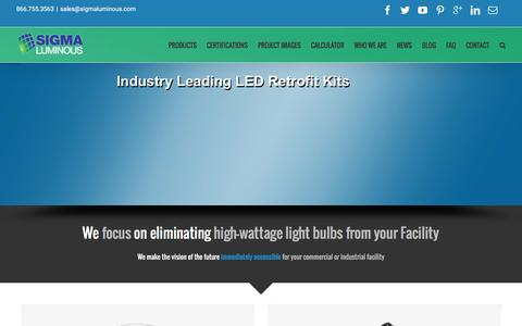 Screenshot of Home Page sigmaluminous.com - Commercial LED Lighting Supplier - Wholesale Retrofit Kits | Sigma Luminous - captured Jan. 10, 2016