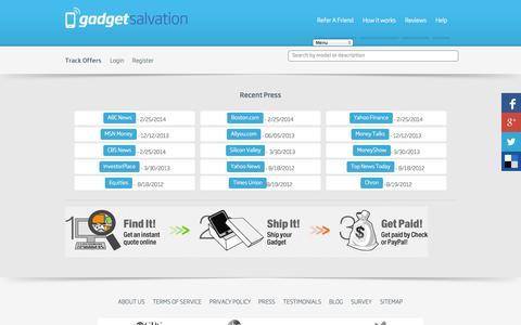 Screenshot of Press Page gadgetsalvation.com - Press - GadgetSalvation - captured Sept. 25, 2014