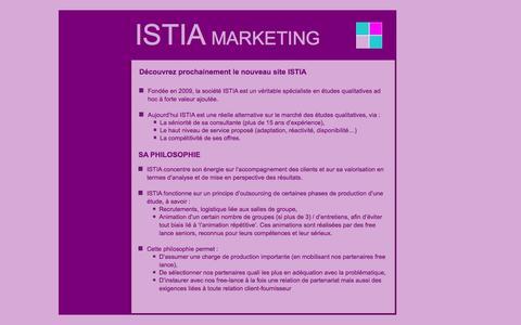 Screenshot of Home Page istia-marketing.com captured Sept. 30, 2014