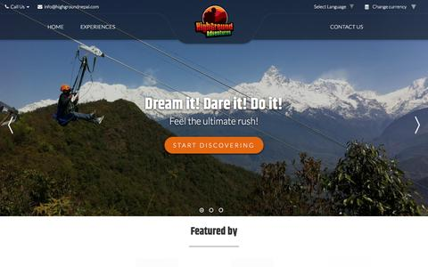 Screenshot of Home Page highgroundnepal.com - HighGround Adventures | Dream it! Dare it! Do it! - captured Aug. 11, 2019