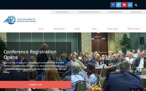 Screenshot of Home Page iowaabi.org - Iowa Association of Business and Industry - captured Feb. 11, 2016