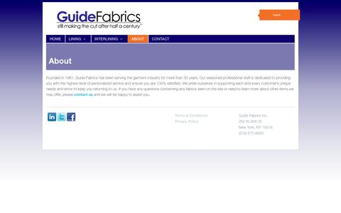 Screenshot of About Page guidefabrics.com - About | Guide Fabrics - captured Sept. 30, 2014