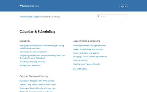Screenshot of Support Page simplepractice.com - Calendar & Scheduling – SimplePractice Support - captured April 26, 2018