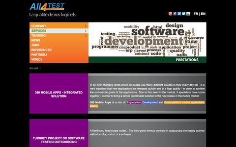 Screenshot of Services Page all4test.com - Services - All4Test - captured Dec. 22, 2015