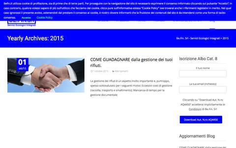 Screenshot of Blog befin.it - 2015 | Be.Fin. Srl – Servizi Ecologici Integrati - captured Feb. 7, 2016