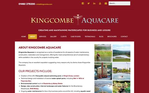 Screenshot of About Page kingcombe.com - About our Business - Kingcombe Aquacare - captured Feb. 12, 2016