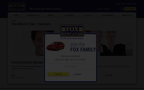 Screenshot of Jobs Page foxrentacar.com - Fox Rent A Car - Careers - captured May 31, 2018