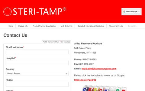 Screenshot of Contact Page steri-tamp.com - Steri-Tamp® Tamper Evident Sterile Seals | Contact Us - captured Oct. 8, 2017