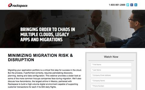 Screenshot of Landing Page rackspace.com - Minimizing-Migration-Risk-and-Disruption - captured Sept. 22, 2018