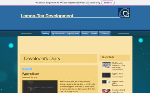 Screenshot of Home Page lemon-tea.co.uk - Lemon-Tea Development – mobile games, random game tutorials - captured July 18, 2018