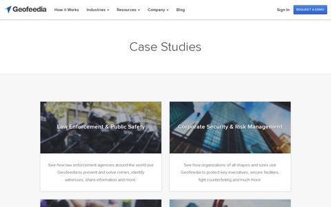 Screenshot of Case Studies Page geofeedia.com - Location-based Social Media Case Studies - Geofeedia - captured July 18, 2014