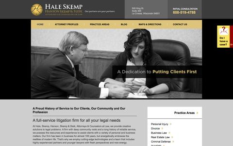 Screenshot of Home Page Press Page Testimonials Page haleskemp.com - La Crosse, Wisconsin Law Firm | Experience in Personal Injury, Business Law & Divorce - captured Oct. 1, 2014