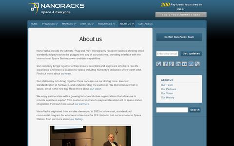 Screenshot of About Page nanoracks.com - About NanoRacks | Commercial Space Company Information - captured July 20, 2014