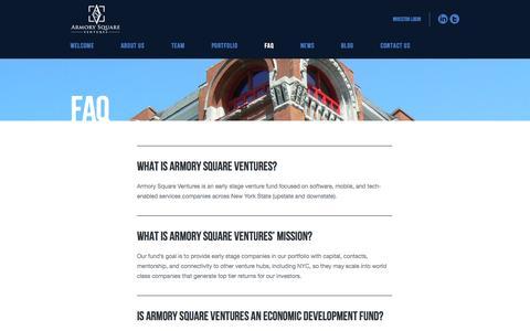 Screenshot of FAQ Page armorysv.com - Armory Square Ventures  » FAQ - captured Oct. 4, 2014