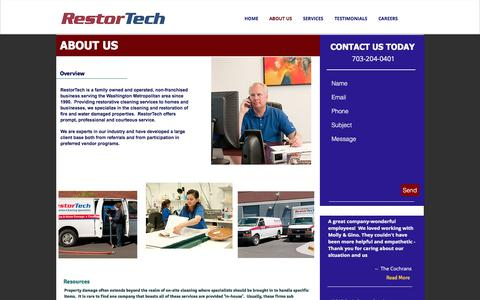 Screenshot of About Page restortech.com - RestorTech ,Water Damage Services Fire Damage Services, No VA Md DC | ABOUT US - captured July 14, 2018