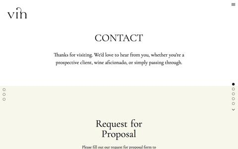 Screenshot of Contact Page vinagency.com - Contact | Vin – Fine Brand Design for the Wine World - captured Oct. 27, 2017