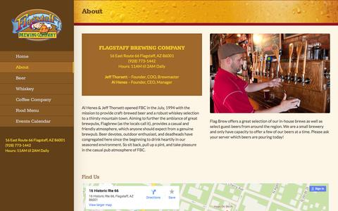 Screenshot of About Page flagbrew.com - About - Flagstaff Brewing Company - captured Feb. 10, 2016