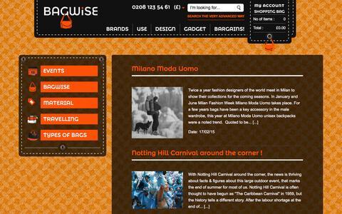 Screenshot of Blog bagwise.com - Blog on bag designs, london events, travel and city life    Bagwise.Com - captured Dec. 28, 2015