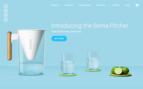 Screenshot of Home Page drinksoma.com - Soma: Makers of Beautiful, Sustainable Water Filters. - captured Nov. 9, 2015