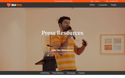 Screenshot of Contact Page Press Page hitfoxgroup.com - HitFox Group - captured Oct. 28, 2014