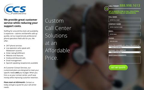 Screenshot of Landing Page yourccsteam.com - Call Center Services | Customer Contact Services in Eden Prairie, MN - captured Oct. 27, 2014
