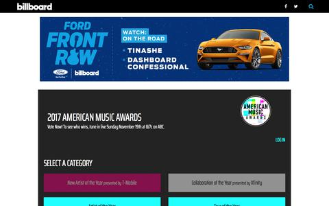 Screenshot of billboard.com - AMA Vote 2017: Choose Your Favorite American Music Awards Nominees | Billboard - captured Oct. 13, 2017