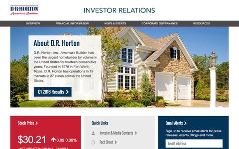 Screenshot of drhorton.com - Investor Relations – D.R. Horton - captured March 19, 2016