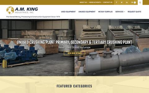 Screenshot of Home Page amking.com - Used Mining & Processing Equipment - Grinding Mills, Crushers & Process Plants - captured Nov. 12, 2018