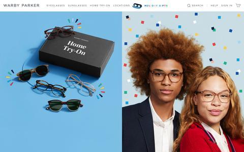 Screenshot of warbyparker.com - Glasses & Prescription Eyeglasses | Warby Parker - captured Nov. 23, 2018