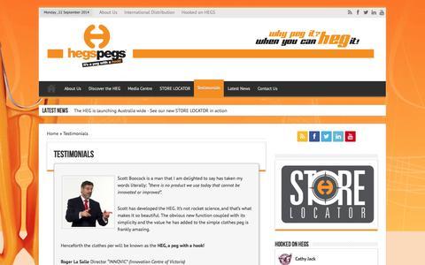 Screenshot of Testimonials Page hegspegs.com - Testimonials   Hegs Pegs - Its a Peg with a Hook - captured Sept. 23, 2014