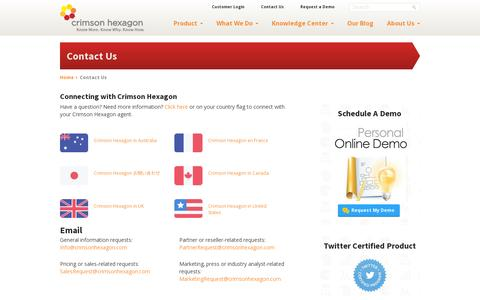 Screenshot of Contact Page crimsonhexagon.com - Contact Us - Crimson Hexagon - captured July 19, 2014