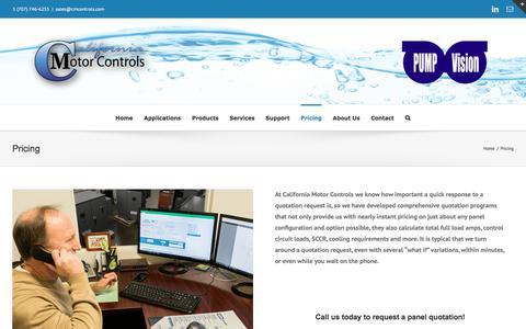 Screenshot of Pricing Page cmcontrols.com - Pricing – California Motor Controls - captured July 11, 2017
