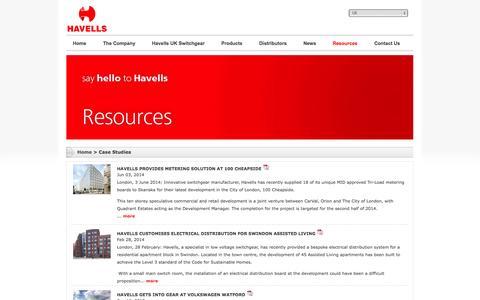 Screenshot of Case Studies Page havells.co.uk - Havells - captured Oct. 2, 2014