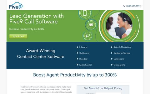 Screenshot of Landing Page five9.com - Contact Center Software | Five9 - captured Aug. 20, 2016
