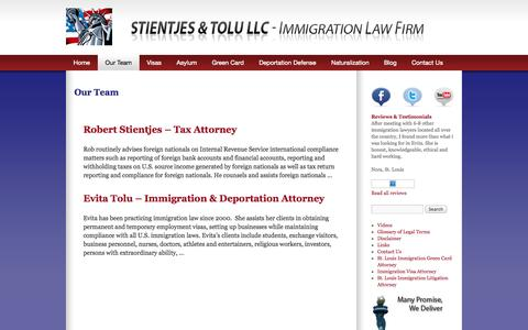 Screenshot of Team Page toluimmigration.com - Immigration deportation defense attorney lawyer st. louis missouri - captured Oct. 1, 2014