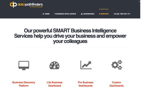 Screenshot of Services Page datapathfinders.com - Business Intelligence Services | Data PathFinders - captured March 8, 2016