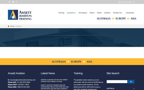 Screenshot of Locations Page ansettaviationtraining.com - Ansett Aviation Training :: Locations - captured July 30, 2018