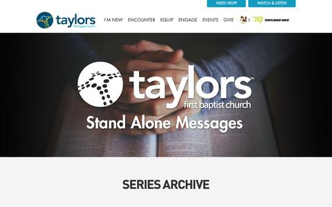 Screenshot of Services Page taylorsfbc.org - Sermons Archive - Taylors First Baptist Church - captured Oct. 19, 2018